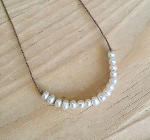 white freshwater pearl demi luna necklace