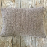 cable-knit cashmere throw pillow - mocha