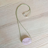 rose quartz faceted oval pendant