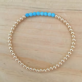 3mm 14k gold-filled bead bracelet with gemstones