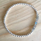 3mm sterling silver bead bracelet with gemstones