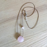 double-love rose quartz faceted briolette with pink pearl accent