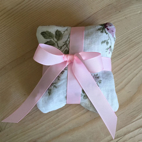 vintage linen & organic french rose petals sachet set
