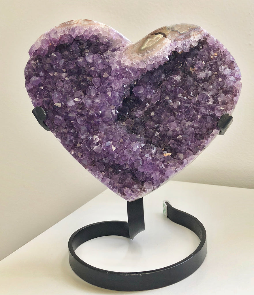 AMETHYST HEART CRYSTAL CLUSTER WITH STAND