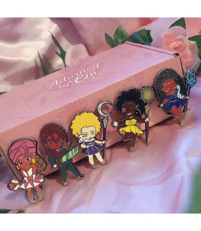 Adorned By Chi Adorned by Chi Limited Edition Chibi Character Enamel Pin Set (set of 5)