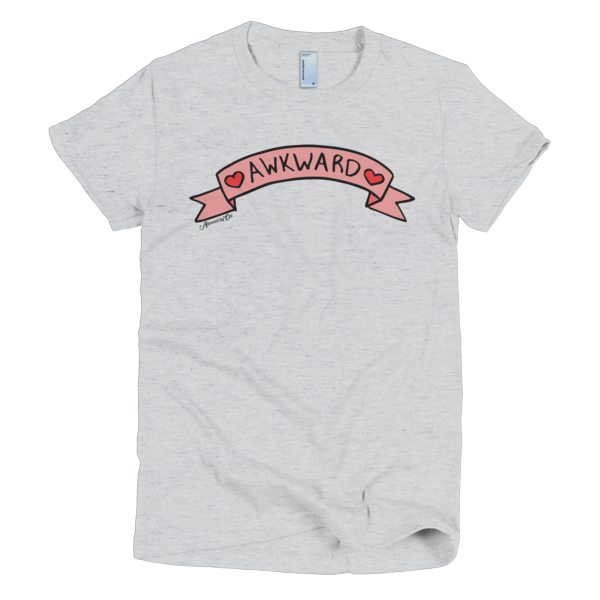 "Adorned By Chi Ash Grey / S ""Awkward"" Cute Banner Short sleeve women's t-shirt"