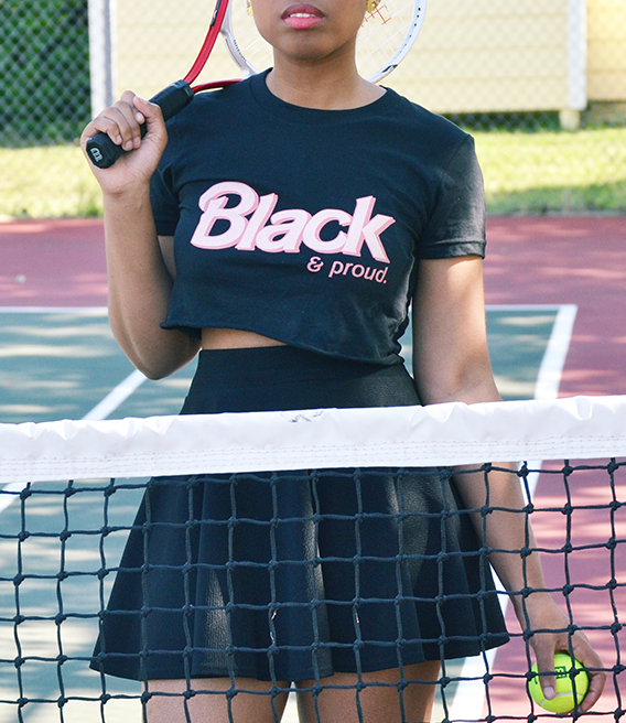 "Adorned By Chi ""Black & Proud"" Doll Inspired Black Short sleeve Women's crop top"