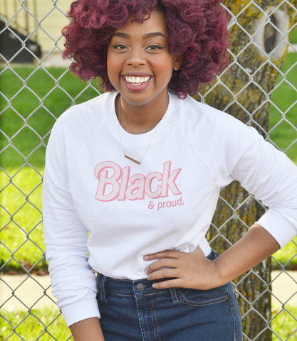 "Adorned By Chi ""Black & Proud"" Doll Inspired Raglan UNISEX sweater (MORE COLORS)"