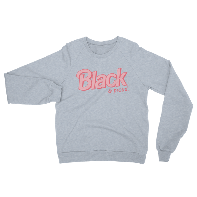 "Adorned By Chi Heather Grey / S ""Black & Proud"" Doll Inspired Raglan UNISEX sweater (MORE COLORS)"