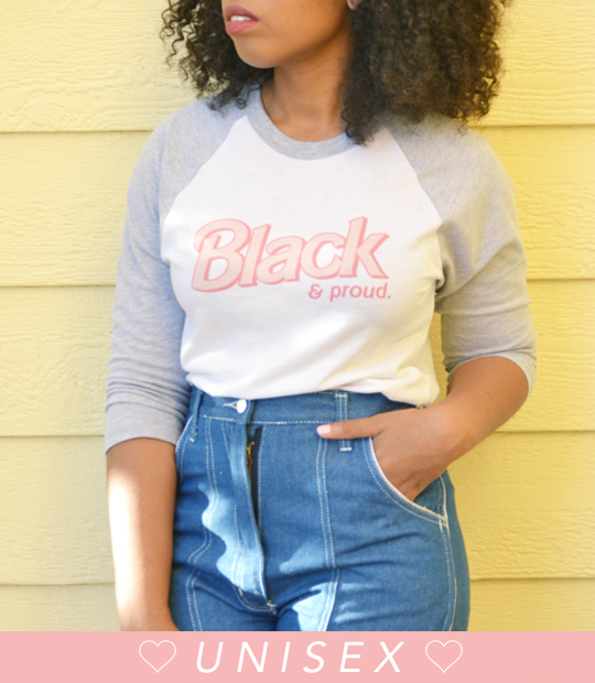 "Adorned By Chi ""Black & Proud"" Doll Inspired UNISEX Baseball Tee (More Colors)"