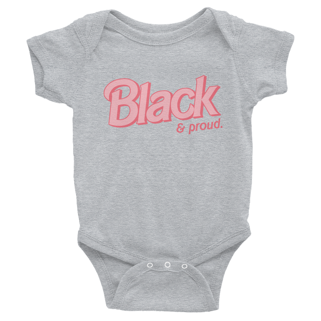 "Adorned By Chi Heather / NB ""Black & Proud"" Infant Onesie"