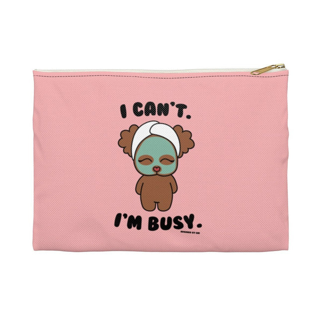 "Printify Large / White ""Chi Chi Poo at the Spa"" Make Up Pouch"