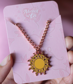 Gogo's Sun Staff Rose Gold Enamel Necklace