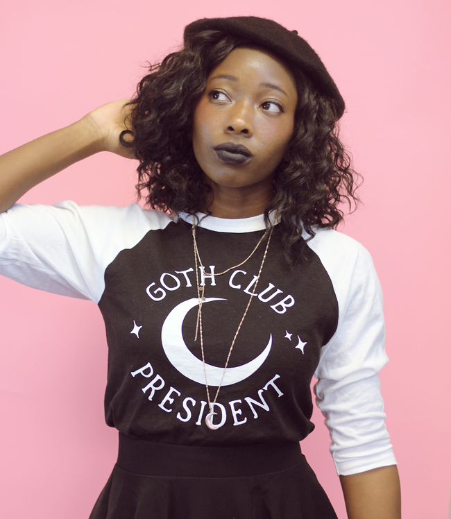 Adorned By Chi Goth Club President Unisex 3/4 sleeve raglan shirt