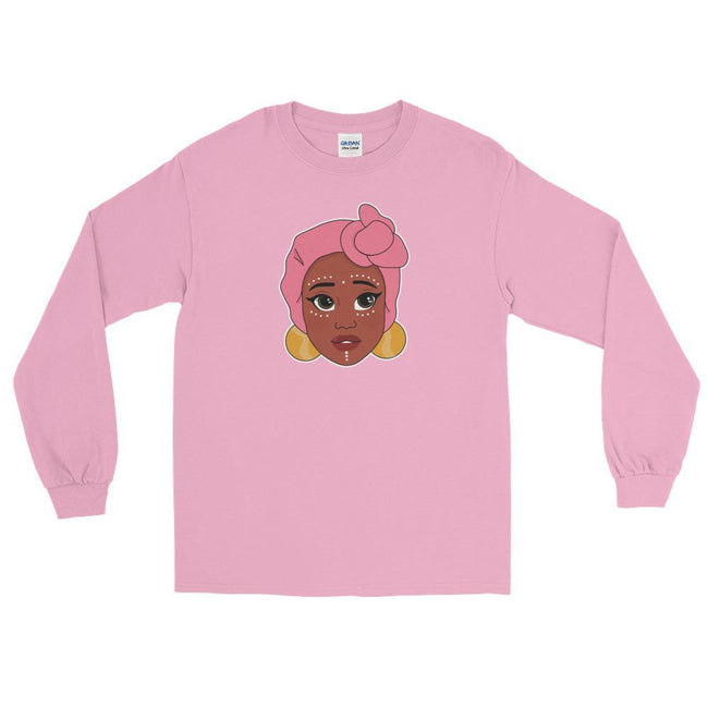 "Adorned By Chi Light Pink / S ""Kawaii Adaeze"" Unisex Long Sleeve T-Shirt"