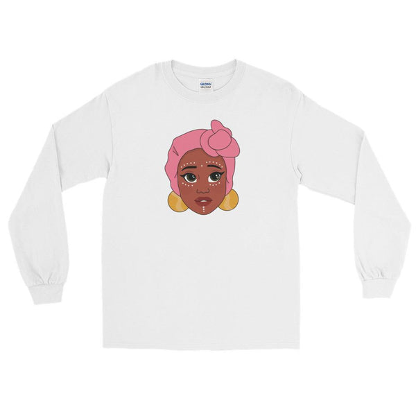 "Adorned By Chi White / S ""Kawaii Adaeze"" Unisex Long Sleeve T-Shirt"