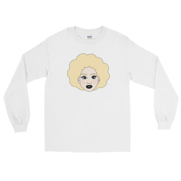 "Adorned By Chi White / S ""Kawaii Kelechi"" Unisex Long Sleeve T-Shirt"