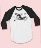 "Adorned By Chi White/Black / XS ""Magic Melanin"" UNISEX Varsity 3/4 sleeve raglan tee (More Colors)"