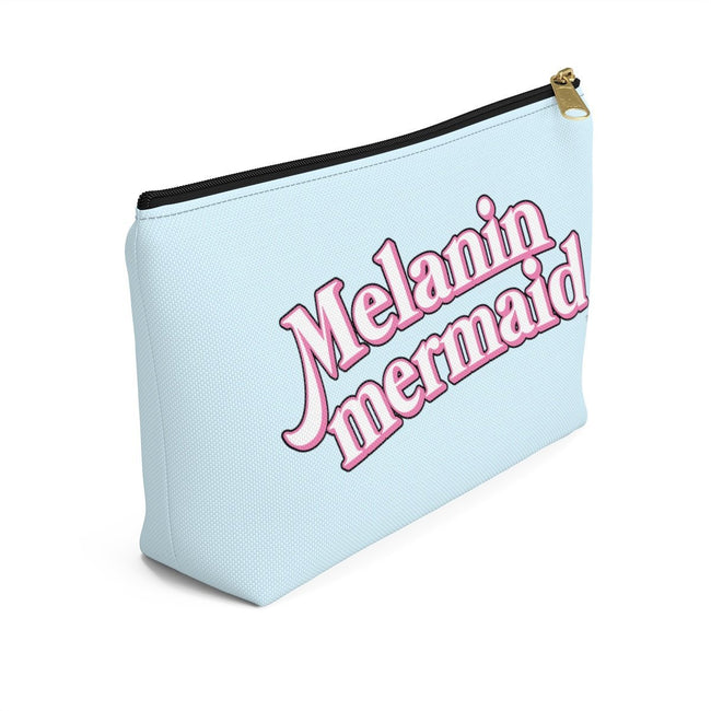 "Printify Black / Small ""Melanin Mermaid"" Make Up Pouch w T-bottom"