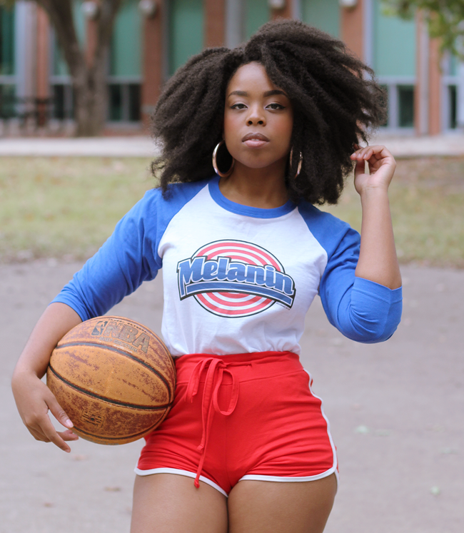 "Adorned By Chi ""Melanin Squad"" Unisex Raglan Baseball Tee (more colors)"