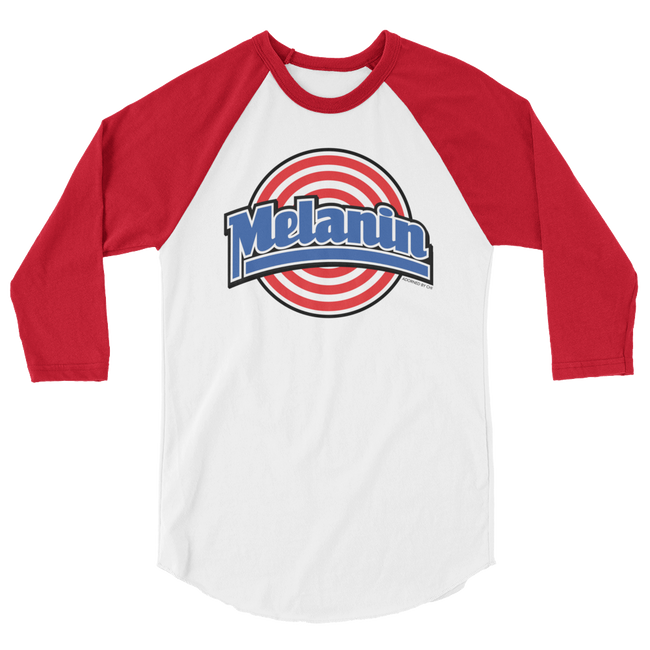 "Adorned By Chi White/Red / XS ""Melanin Squad"" Unisex Raglan Baseball Tee"