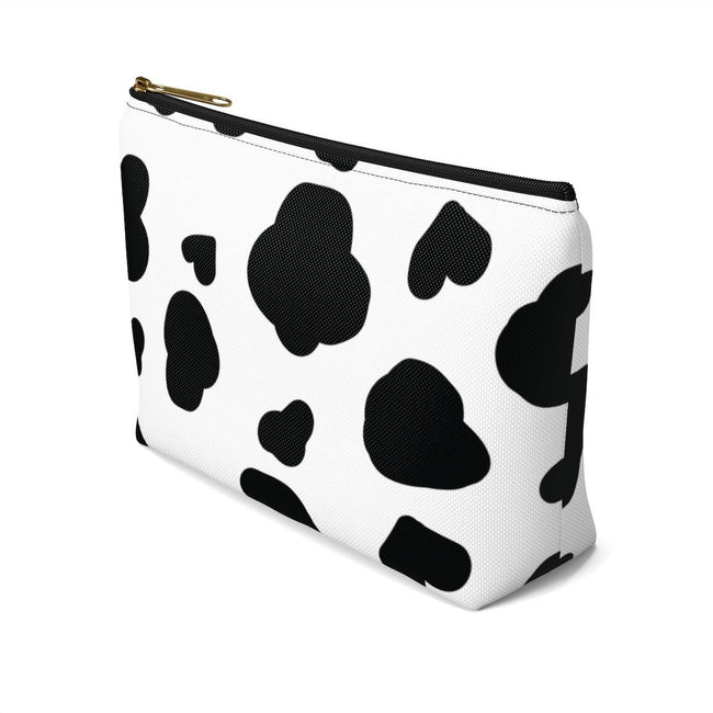 "Printify Black / Small ""Mooo!"" Cute Cow Print Make Up Pouch w T-bottom"