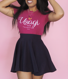 Adorned By Chi Navy Blue Skater Skirt
