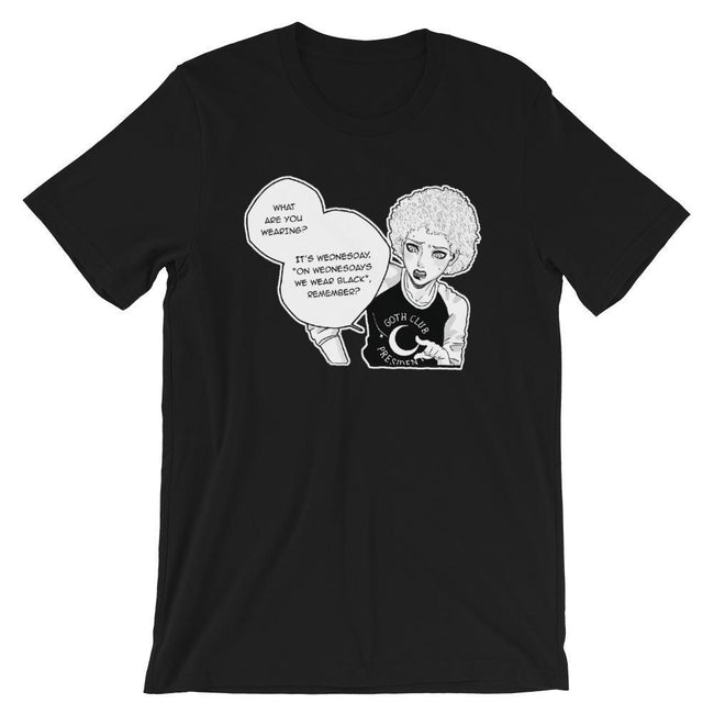 "Adorned By Chi XS ""On Wednesdays We Wear Black"" Manga Inspired Short-Sleeve Unisex T-Shirt"