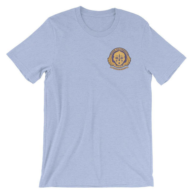 Adorned By Chi Heather Blue / S Peace University Pocket Emblem Short-Sleeve Unisex T-Shirt