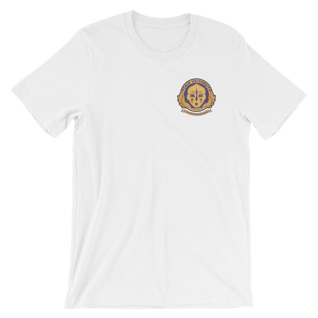 Adorned By Chi White / S Peace University Pocket Emblem Short-Sleeve Unisex T-Shirt