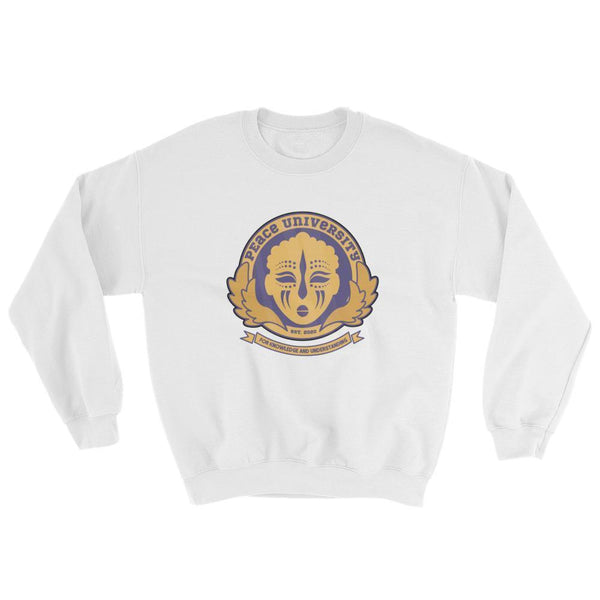 "Adorned By Chi White / S ""Peace University"" Unisex Sweatshirt"