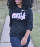 "Adorned By Chi ""Sweet & Savage"" Black Unisex Raglan sweater"