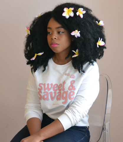 "Adorned By Chi ""Sweet & Savage"" White Unisex Raglan sweater"