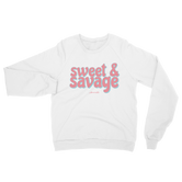 """Sweet & Savage"" White Unisex Raglan sweater"