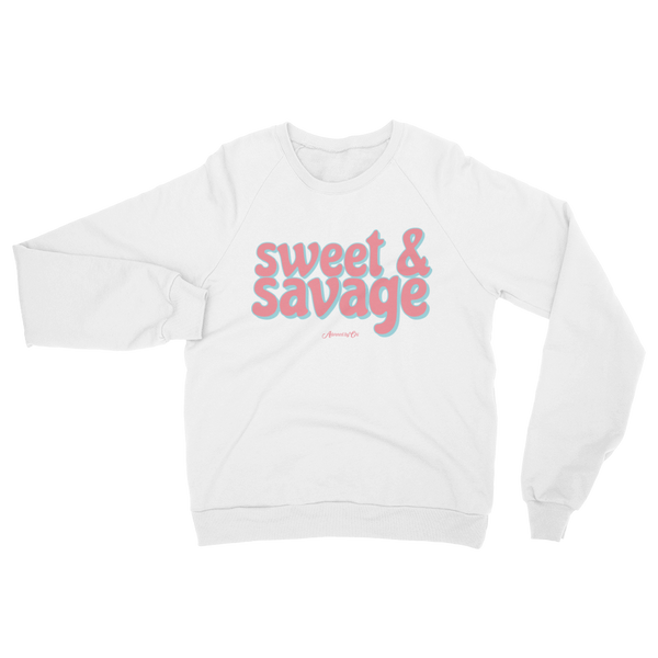 "Adorned By Chi White / S ""Sweet & Savage"" White Unisex Raglan sweater"