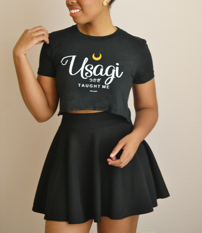 "Adorned By Chi ""Usagi Taught Me"" Black Short sleeve women's cropped t-shirt"