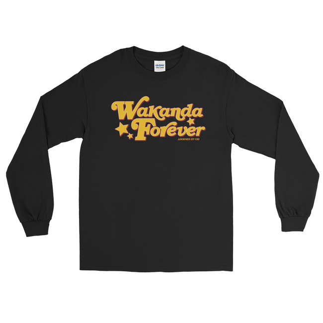 "Adorned By Chi Black / S ""Wakanda Forever!"" Unisex Long Sleeve T-Shirt (more colors)"