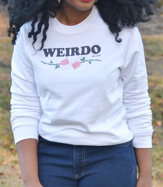 "Adorned By Chi ""Weirdo"" White Pink Rose UNISEX Raglan sweater"