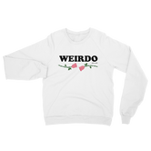"""Weirdo"" White Pink Rose UNISEX Raglan sweater"