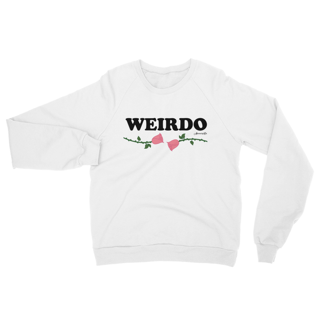 "Adorned By Chi S ""Weirdo"" White Pink Rose UNISEX Raglan sweater"