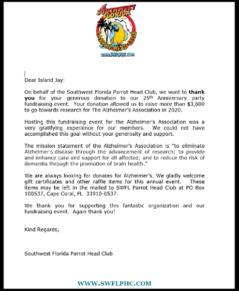 SW Florida Parrot Head Club Donation Letter