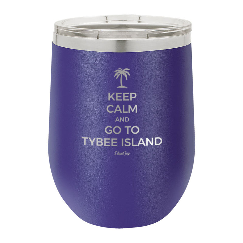 Keep Calm And Go To Tybee Island Laser Engraved Metal Stemless Wine Tumbler