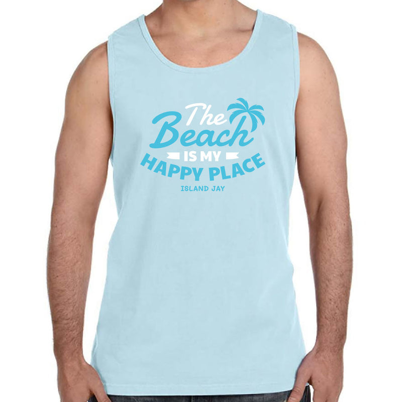 The Beach Is My Happy Place Palm Tree Tank Top