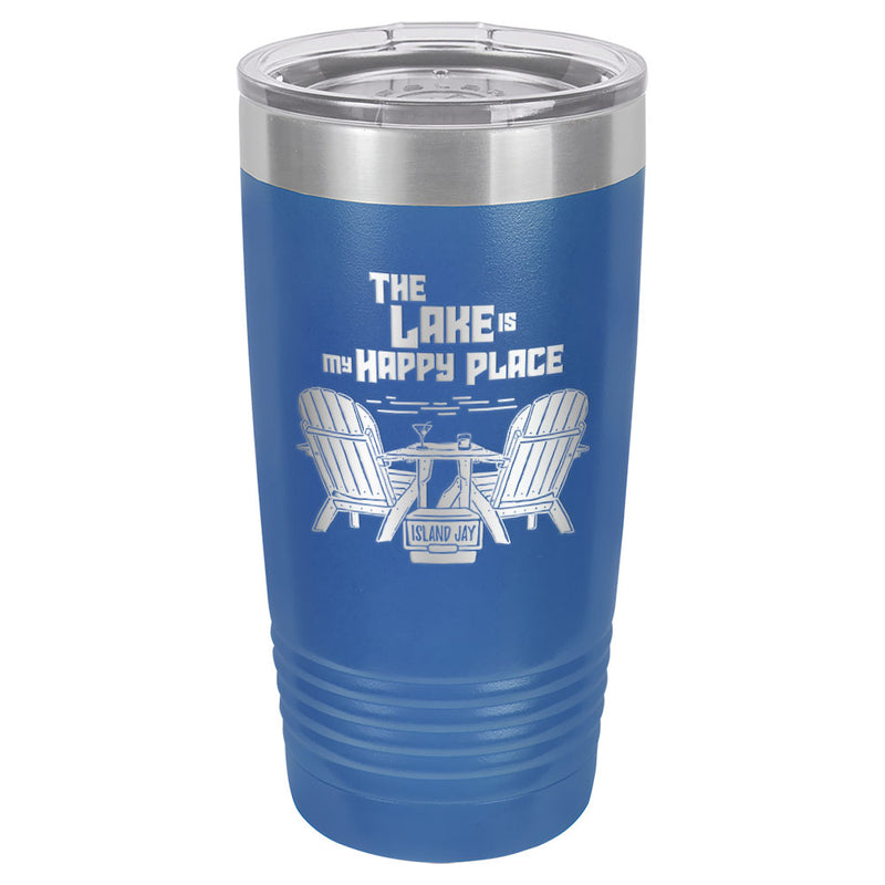 The Lake Is My Happy Place Laser Engraved Metal Tumbler