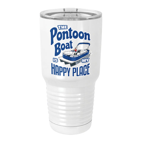The Pontoon Boat Is My Happy Place Full Color Metal Tumbler