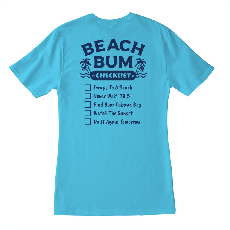 Ladies Beach Bum Checklist V-Neck T-Shirt