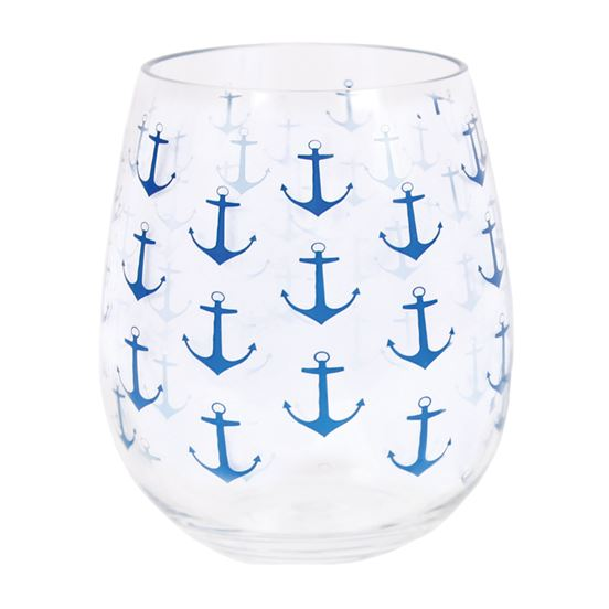 Anchor Pattern Stemless Wine Glass