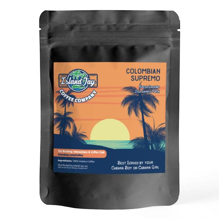 island jay columbian supremo coffee 2oz sample