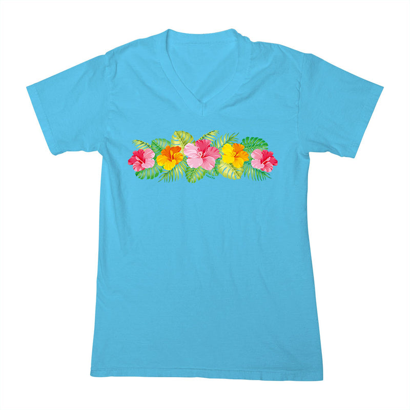 Ladies Hibiscus Flower Life V-Neck T-Shirt