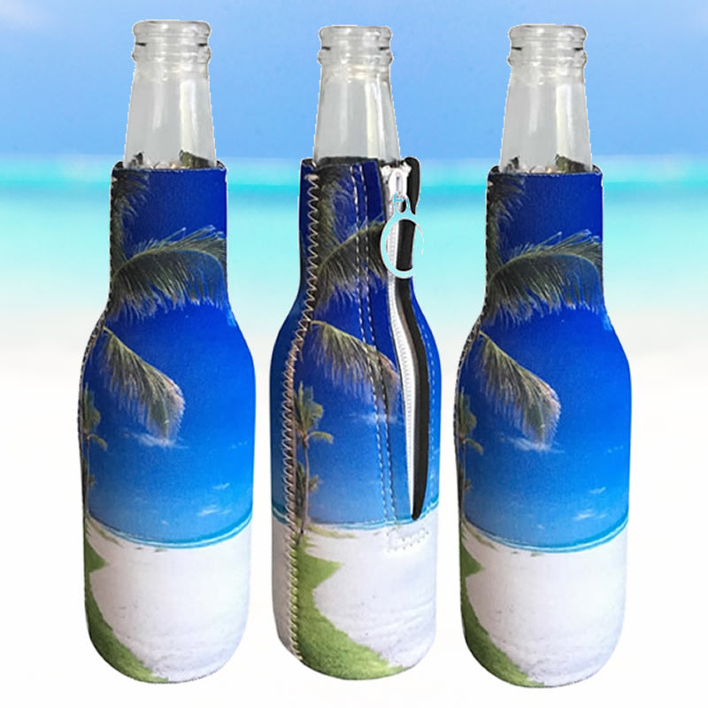 **3 PACK ** Key West Beach Day Zippered Beer Bottle Cooler Sleeve